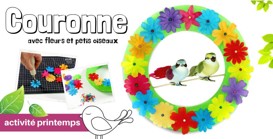 DIY couronne fleurs oiseaux