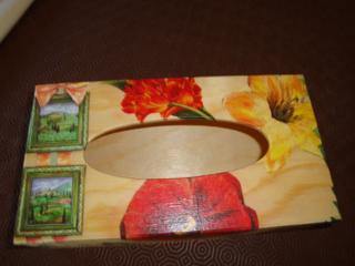 Boîte décorée avec une serviette - Déco du bois - 10doigts.fr