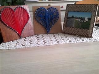 Tableau à fil et tableau à fil porte photo - Déco du bois - 10doigts.fr