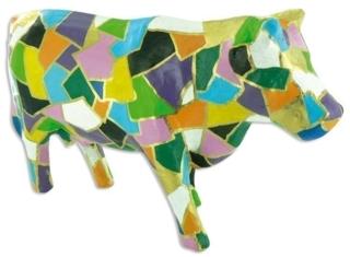 Vache patchwork - Vernis collage papiers, serviettes - 10doigts.fr