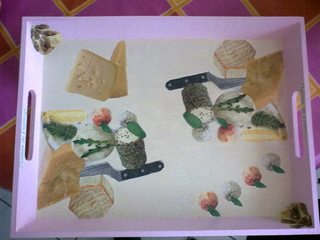 plateau a fromage - Vernis collage papiers, serviettes - 10doigts.fr