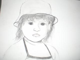 Ma fille 1er fusain essai - Dessin - 10doigts.fr