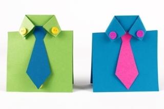 Carte cravate et chemises en papier - Fête des Pères - 10doigts.fr