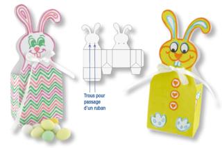 Boîtes lapins de Pâques en carte blanche à colorier + 4 rubans satin blanc - Activités enfantines - 10doigts.fr