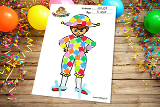 Arlequin à décorer - Carnaval, fêtes, masques - 10doigts.fr