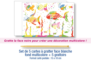 Set de 5 cartes à gratter face blanche fond multicolore + 5 grattoirs - Cartes à gratter, cartes à sabler - 10doigts.fr