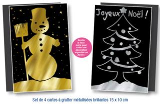 Set de 4 cartes à gratter face noire fond métallisé + 4 grattoirs - Cartes à gratter, cartes à sabler - 10doigts.fr