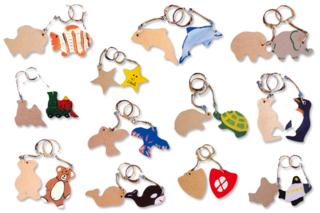 Porte-clefs animaux assortis, en bois naturel - Porte-clefs, gri-gris - 10doigts.fr