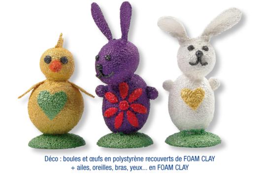 Lapins et poussin de Pâques en FOAM CLAY - Modelage - 10doigts.fr