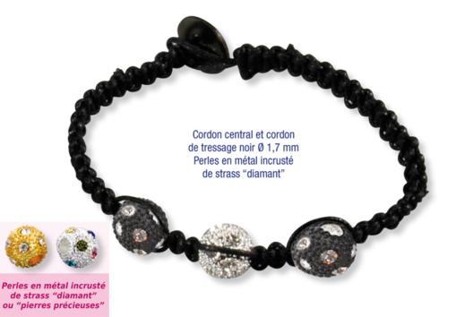 Shamballas... avec des perles en métal incrusté de strass diamant - Bracelet Shamballa - 10doigts.fr