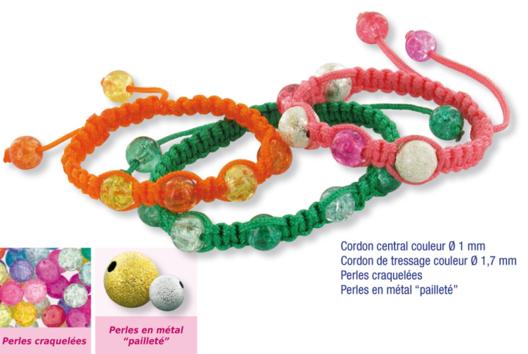 Shamballas... avec des perles craquelées et métal pailleté - Bracelet Shamballa - 10doigts.fr