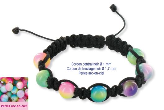Shamballas... avec des perles en verre arc en ciel - Bracelet Shamballa - 10doigts.fr