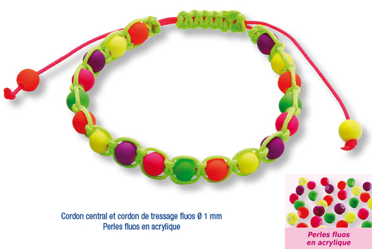 Shamballas... avec des perles fluos en acrylique  - Bracelet Shamballa - 10doigts.fr
