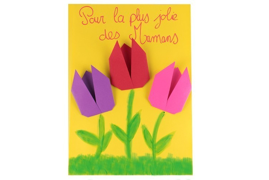 Tulipes en Origami - Tutos Fête des Mères - 10doigts.fr