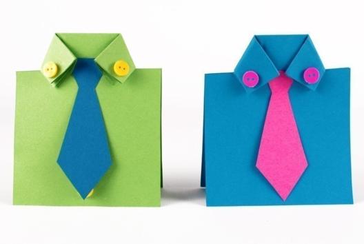 Carte cravate et chemises en papier - Tutos Fête des Pères - 10doigts.fr