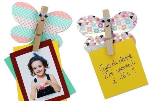 Magnet papillon avec une pince à linge - Carterie - 10doigts.fr