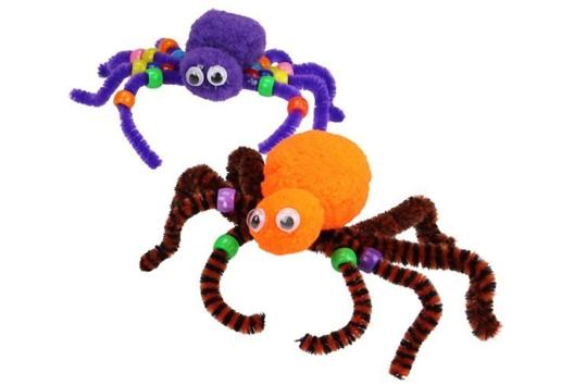 Araignées en pompons et chenilles - Tutos Halloween - 10doigts.fr
