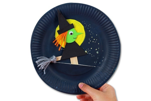 Marionnette sorcière - Tutos Halloween - 10doigts.fr
