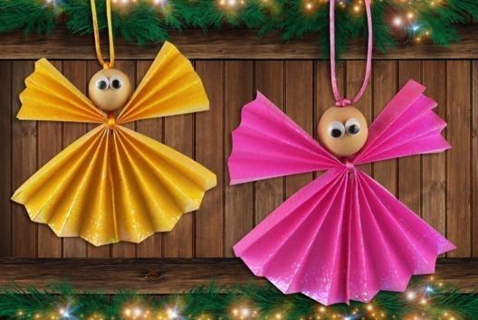 Anges de Noël en papier - Je décore des suspensions pour le sapin - 10doigts.fr
