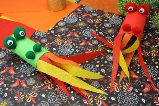 Dragons cracheurs de feu - Tutos Carnaval - 10doigts.fr