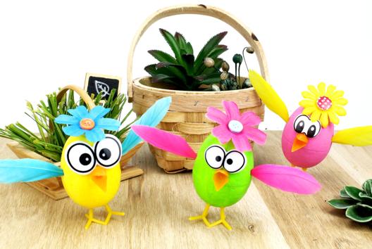 Activité avec des oeufs de Pâques : les poussins rigolos - Tutos Pâques - 10doigts.fr
