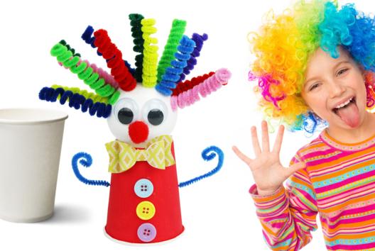 Fabriquer un clown rigolo avec un gobelet en carton - Tutos Carnaval - 10doigts.fr