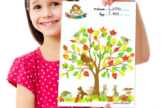 Arbre d'automne à décorer avec des gommettes - La Nature - 10doigts.fr