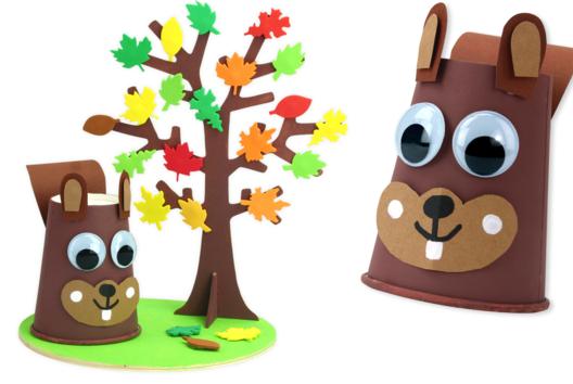 Écureuil et son arbre d'automne - Personnages rigolos - 10doigts.fr