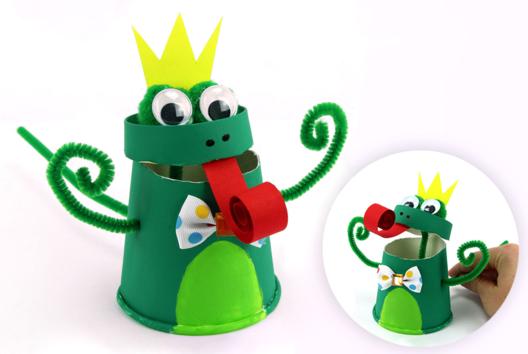 Marionnette grenouille avec un gobelet en carton - Animaux - 10doigts.fr