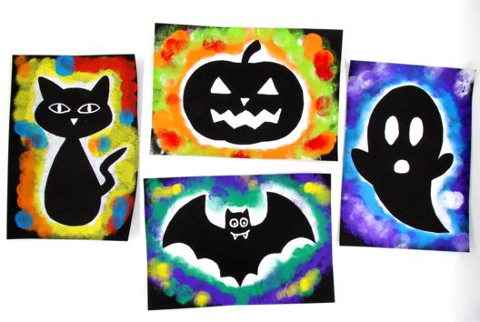 Silhouettes Halloween avec de la peinture - Tutos Halloween - 10doigts.fr