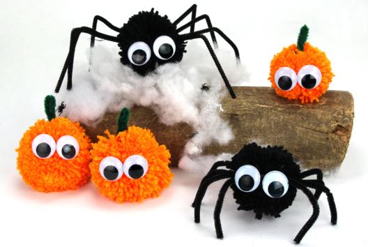 Araignées et citrouilles en pompons - Tutos Halloween - 10doigts.fr