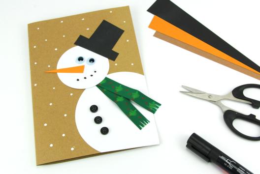 Carte bonhomme de neige - Carterie - 10doigts.fr