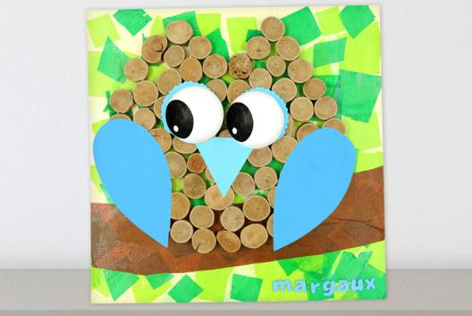 Tableau hibou avec du bois flotté et du papier de soie - La Nature - 10doigts.fr