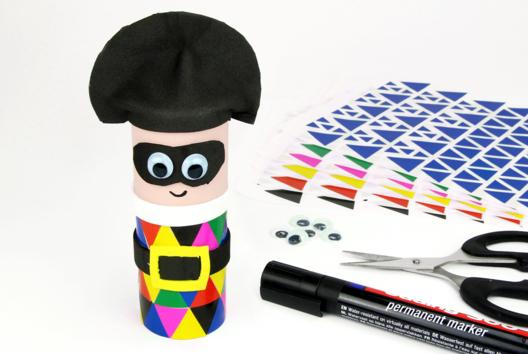 Arlequin avec un rouleau en carton - Tutos Carnaval - 10doigts.fr
