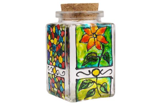 Bocal cubique en verre avec bouchon en liège - Décoration d'objets - 10doigts.fr