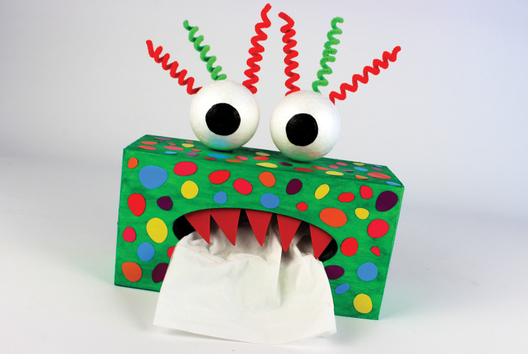 Boite à mouchoirs Monstre rigolo - Tutos Halloween - 10doigts.fr