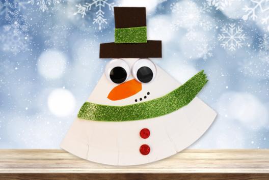 Bonhomme de neige à bascule - Collage et pliage papier - 10doigts.fr