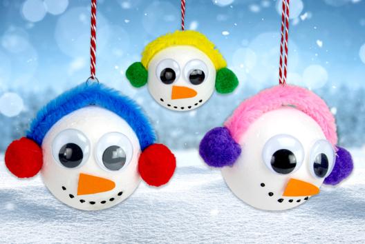 Boules bonhommes de neige - Tutos Hiver - 10doigts.fr