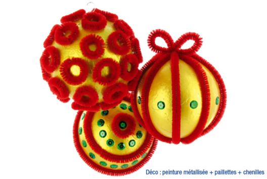 Boule déco chenilles - Décoration du sapin - 10doigts.fr