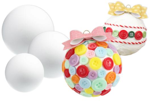Collage de boutons sur boules en polystyrène - Décoration du sapin - 10doigts.fr