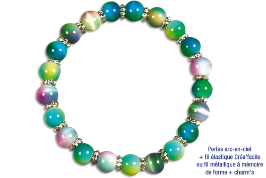 Bracelets en perles arc en ciel - Tutos Fête des Mères - 10doigts.fr