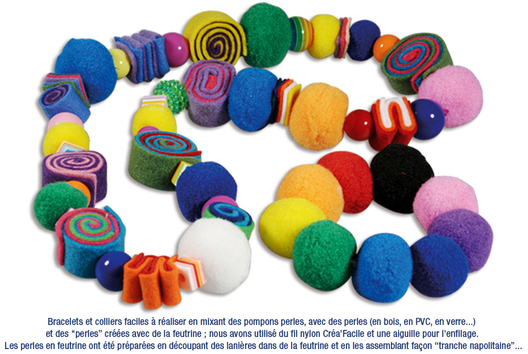 Bracelets ou colliers avec des pompons perles - Tutos créations de Bijoux - 10doigts.fr