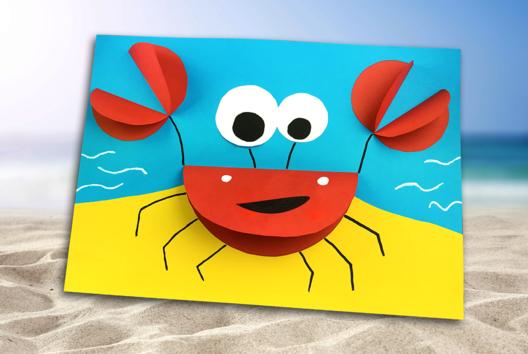 Crabe 3D en papier - Collage et pliage papier - 10doigts.fr