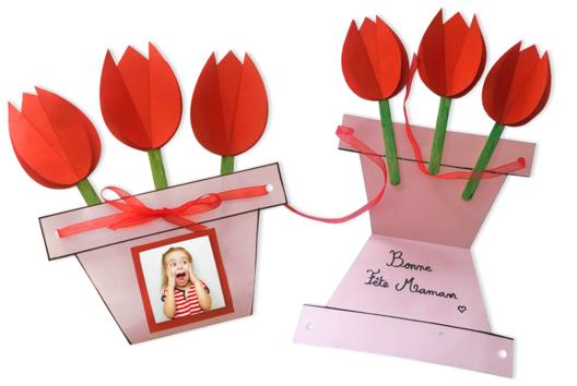 Carte pot de fleurs pour la fête des mères - Tutos Fête des Mères - 10doigts.fr
