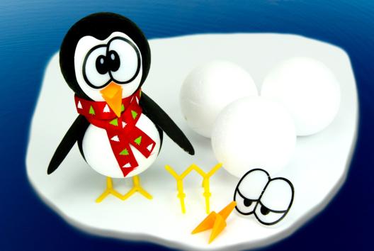 Pingouin avec des boules en polystyrène - Animaux - 10doigts.fr