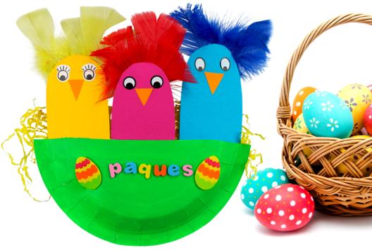 Poussins de Pâques dans leur nid - Pâques - 10doigts.fr
