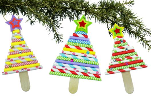 Sapin de Noël avec pailles en carton - Petits bricolages - 10doigts.fr