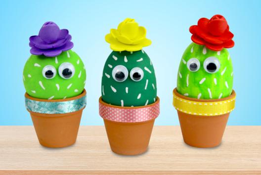 Cactus dans un pot en terre cuite - Peinture - 10doigts.fr