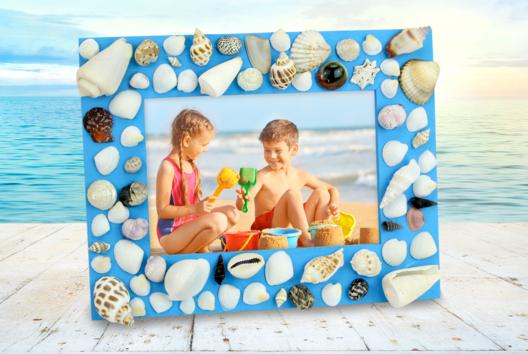 Cadre de vacances avec des coquillages - La Nature - 10doigts.fr