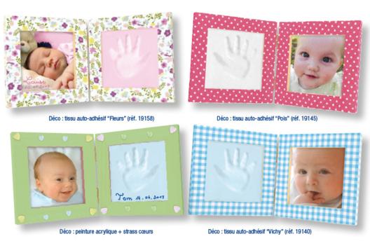 Cadre pliable pour empreinte main ou pied de bébé et photo - Modelage - 10doigts.fr